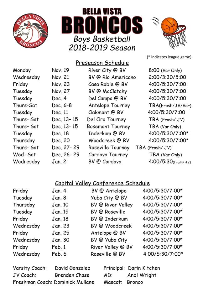 2018-2019 BV Schedule